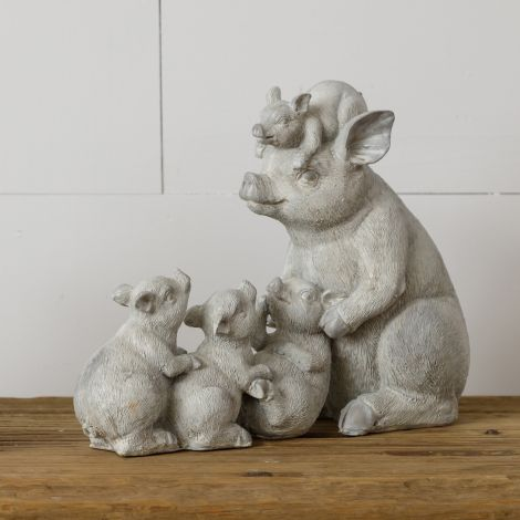 Playful Pigs Resin Figurine