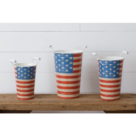 Buckets With Handles  - American Flag