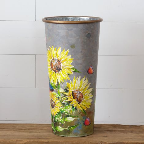 Sunflowers & Butterflies - Tall Planter