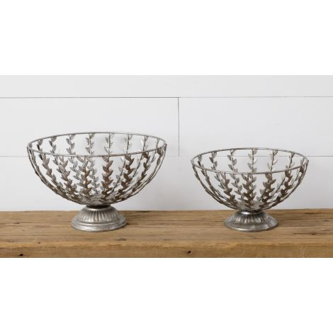Decorative Bowls with Metal Leaves