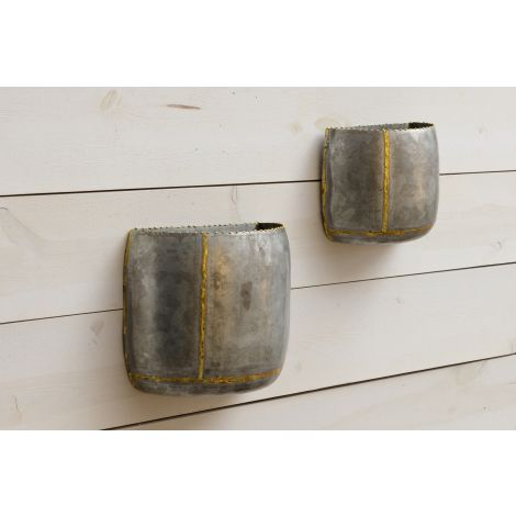 Galvanized Wall Planter With Gold Welding